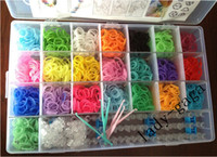 5-7 Years Multicolor Plastic DIY TOY Rainbow loom kit bands clear plastic box for Kids DIY bracelets 2200 pcs Bands+ 5 hooks+1 rainbow loom+ 24 S & 24 C clips latest