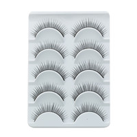 Wholesale Brand New pairs set Charming Black False Eyelashes with Glue Natural Look Eye Lash Reusable Handmade MakeUp Cosmetic Freeshipping