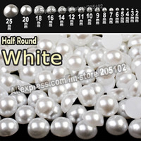 Wholesale White Half Round Flatback Pearls mix sizes mm mm all sizes for choice loose ABS imitation pearl beads plain color for nail