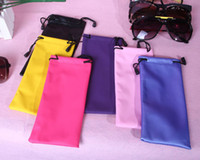 Wholesale Wipe and Pouch Set for Glasses Sunglasses Wiping Cloth Colorful Mixed Cleaning Cloth PU Leather Bag set