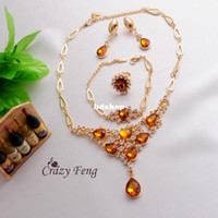 Wholesale Fashion Women Girl k Yellow Gold Filled Champagne Topaz Necklace Bracelet Earrings Ring Wedding Jewelry Sets
