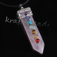 Wholesale Charm Silver Plated Natural Rose Quartz Sword Shape Chakra Healing Stone Pendant Jewelry