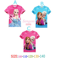 Wholesale New romance frozen elsa girl dress snow suit girls summer dress short sleeve clothes girls T shirts GC029