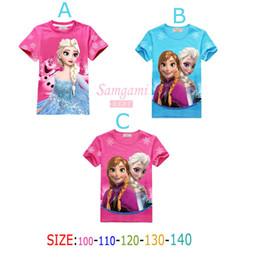 Wholesale New romance frozen elsa girl dress snow suit girls summer dress short sleeve clothes girls T shirts GC029
