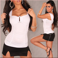 Wholesale Korea Women s Tank Top Shirt White Vest Waistcoat Camisole Pierced T shirts Fashion Tank tops Blouses Backless