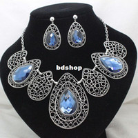 Bracelet,Earrings & Necklace Women's Wedding 2014new brand party rhinestone blue crystal jewelry sets costume high quality necklace and earring sets for women free shipping