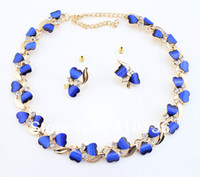 Wholesale Min Order PN12378 Hot Sale Jewelry Sets Gold Plated Clear Crystal Black Royal Blue Color Resin Beads New