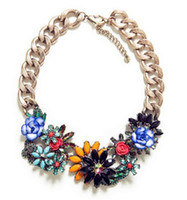 Wholesale European Style Bronze Alloy Link Chain Colorful Resin Gem Crystal Flowers Statement Necklaces Pieces