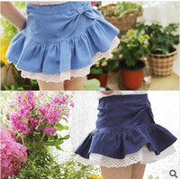 denim fabric - children cute dress Girl big bow skirt denim mini skirt lace fabric denim short skirt dandys