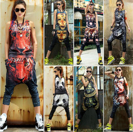 Wholesale 2014 new Summer vest D Harem pants Personality Casual set hip hop Fashion sports suit women s tracksuits sportswear