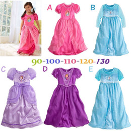 Wholesale Summer Girls Frozen Elsa Wedding Dresses Europe And America Children Cartoon Party Evening Dress Voile Ball Gown Princess Dress