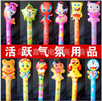 Wholesale HOT Novelty Large scale cm Cartoon Aluminum Foil Balloon Stick Animal Head Balloons Refueling Inflatable Rods Cheer Item