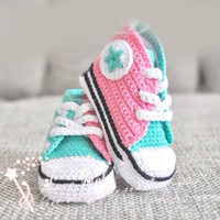 Unisex assorted sports - Hot New Handmade Baby Girls Boys Crochet Sneakers Booties Infant Knitted Sport Shoes Athletic Shoe For Pre Walkers Cotton Assorted Color
