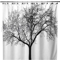 big lots curtains - New x180cm European style Big Black Scenery Tree Design Bathroom Waterproof Fabric Shower Curtain
