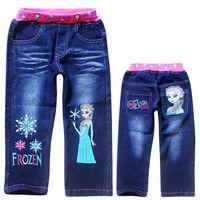 Wholesale HOTSELLING Fashion new Autumn summer children bule denim jeans baby wear girls jeans Frozen kids causal pants trousers