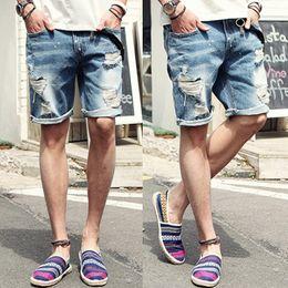 Wholesale 2014 NEW famous brand summer denim shorts for men casual fashion slim fit short ripped jeans mens designer pants men s clothing