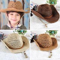 Wholesale salebags HOT Children Straw Cap Retro Cowboy hollow out Hat Boy Girl Parent child sun block Outdoor Cap H130
