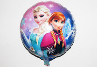 Multicolor aluminum foil - In stock Frozen x45cm balloon for birthday party Princess Anna Elsa inch round Aluminum foil cartoon helium balloons frozen