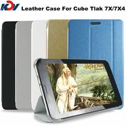 Wholesale Cube Tablet Cases - Wholesale Original 7 inch Cube U51GTW U51GT W Talk 7X TALK7X4 Tablet PC Smart Leather Case Multi Color Free shipping