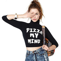 Wholesale 2014 Women fashion sexy midriff baring PIZZA MY MIND print short T Shirts three quarter sleeve high collar D377
