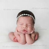 Wholesale 2016 pieces per Crystal Rhinestone Photograph Newborn Baby Headband Kids Flower Girl Hair Accessories Tie Backs