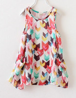 2014 Summer Fashion Children Casual Rhombus Sleeveless Chiff...