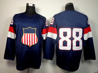 Ice Hockey Men Full 2014 Olympic USA Ice Hockey Jerseys #88 KANE Sportswear Blue Color able mix any size