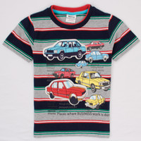 Wholesale New kids summer tee cotton stripe fabric letters and cars printing short sleeved t shirt for boys baby fashion clothes C4853