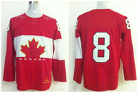 Ice Hockey Men Full 2014 Winter Olympic Game #8 Jerseys Red Ice Hockey Jersey Long Sleeve SZ:48-56 able mix any size
