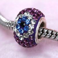 Wholesale 10psc Ture Sterling Silver Czech Crystal Findings Magic Eye Of Purple European Charm Big Hole Beads Fit Bracelets x14mm