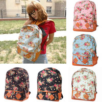 Wholesale New Women Backpack Girl s Floral Canvas Backpacks Cute Flowers Book Satchel Campus School Bag Travel Bags H9918 H11613