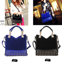 Wholesale 2014 Luxury Retro Rivet Women Handbag Flannel Tote Leather Hobo Shoulder Bag Messenger Bag H9395
