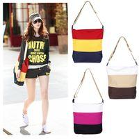 Wholesale New Candy Color Casual Handbag Women Messenger Bag Shoulder Bag Student Bag Pull Style Canvas Bag Big Bags H10137