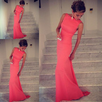 Wholesale Formfitting Sheath High Neck Formal Long Coral Evening Dress Event Gown WL164