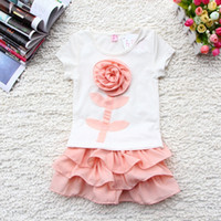 Girl Summer Short 2014 Summer Baby Tutu Skirt Set 3D Flower Cotton Tshirt 2pcs Girl Tutu Skirts Suit 1-5Year Kids Clothing Toddler Wear GX303