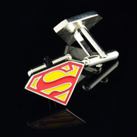 Wholesale High Quality Superman Superhero Cufflink French Cufflinks Fathers Day Gift For Men Boy Jewelry Cuff Link C7