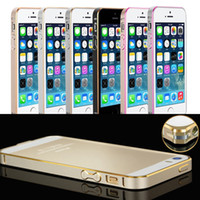 Wholesale New Fashion mm Slim Cross Line Screwless Aircraft Aluminum Metal Bumper Case For iPhone S Luxury with retail package