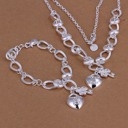 Insets heart lock,flower spoon 925 sterling silver jewelry sets LS-13.925 silver plated neckace bracelet set.support Wholesale, retail,