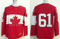 Ice Hockey Men Full 2014 Winter Olympic Games Ice Hockey Jerseys Red #61 NASH Sportswear SZ:48-56 able mix any size