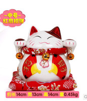 Wholesale Welcoming Cat Lucky Cat Money cat Fortune Cat ceramic good gift for home office etc red fan cm
