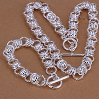 Wholesale Double circles heavy sterling silver jewelry sets LS fashion silver plated neckace bracelet set support retail