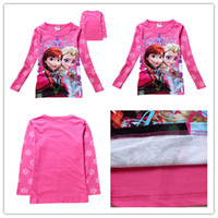 Wholesale 2014 new girl T shirt frozen elsa and anna children long sleeve T shirt kids pure cotton cartoon T shirt two colors