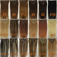 Wholesale 24 Inch g Set Full Head Clip in on Indian Remy Hair Extensions Jet Black Lightest Blonde Red Silky Straight Body Wavy TOP QUALITY