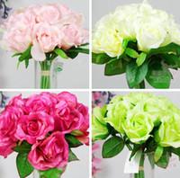 Wholesale Upscale Artificial Silk Flowers cm quot Length Simulation Wrinkles Rose Korean Wedding Bride Bouquet Twelve Roses Four Colors Available