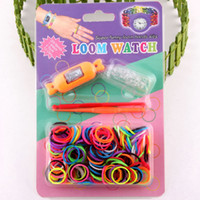 5-7 Years Multicolor Plastic DIY Knitting Braided loom Watch Rainbow Kit Rubber Loom Bands Self-ma de Silicone Bracelet (Watch+Rubber+Clip+Hook) 50pcs