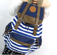 Wholesale 2014 New Striped Canvas Printing Backpack School Bag For Girls College Mochilas Women Casual Travel Bagpacks PB15