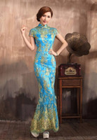 Wholesale 2014 New Elegant Tradition Chinese Dresses Cheongsam Lace Sequins Mermaid wedding Bridal Evening dresses elegant floor length