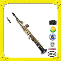Wholesale Hot selling Falling Tune B G key gold key all black body Soprano Saxophone duct spend playing video must see