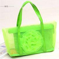Men flower handbags - The new summer mesh bags handbags fashion casual shoulder bag large mesh bags flower flowers transparent PIP