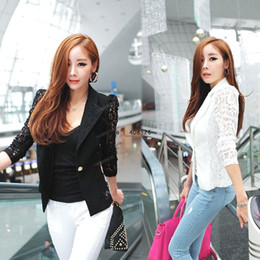 Wholesale New Elegant Womens Coat Lace Splicing One button Slim Small Suits Jacket Colors Sizes